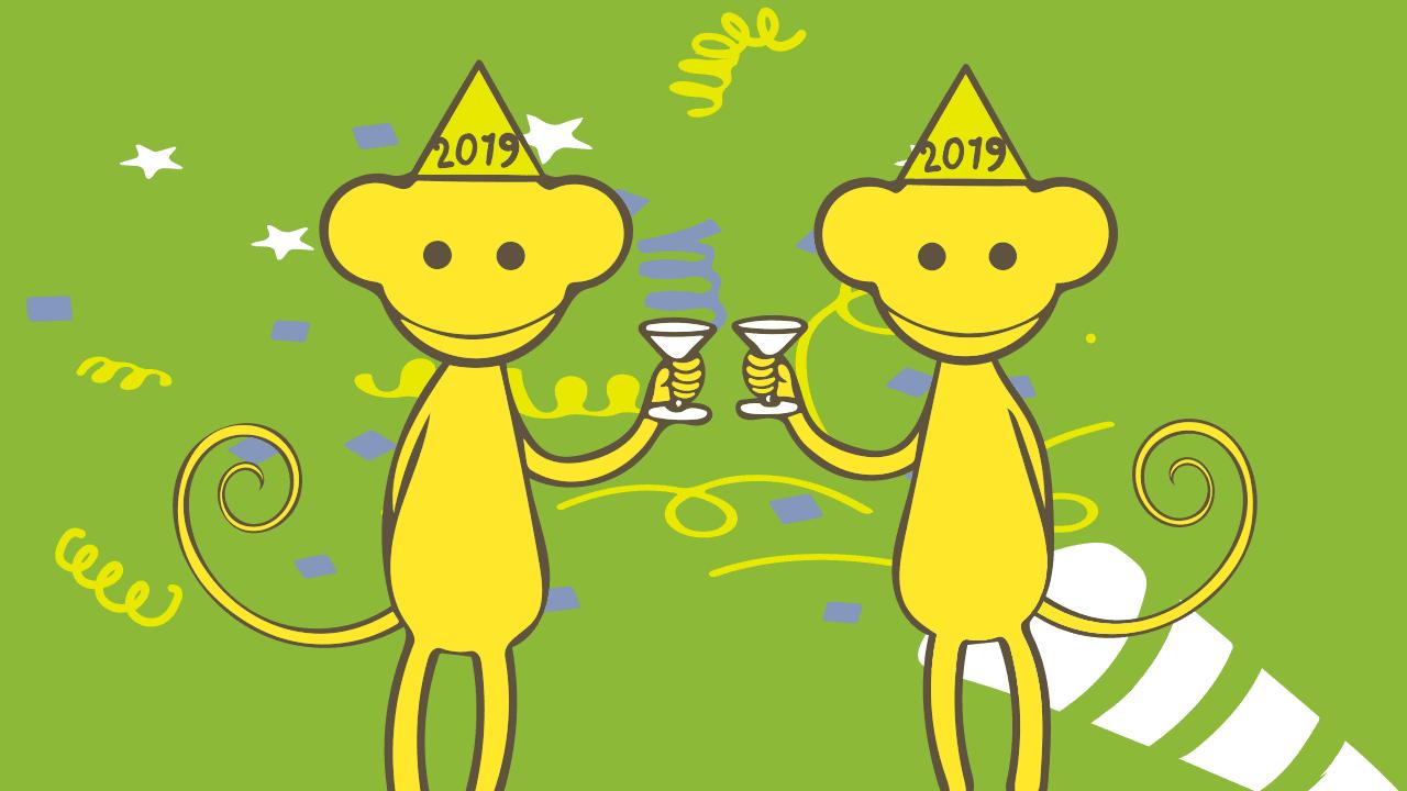 Apor som skålar i champagne